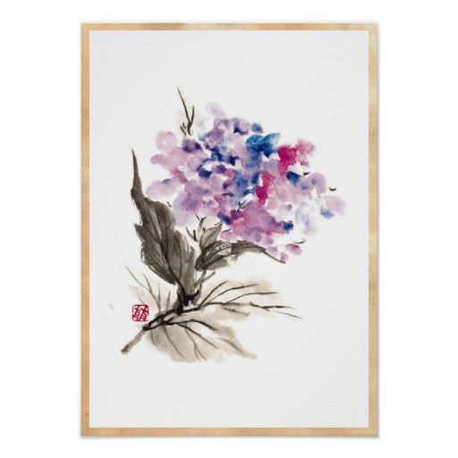 Cool oriental chinese classic watercolor flowers poster