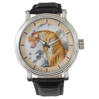 Cool oriental chinese fluffy tiger watercolor art wrist watch