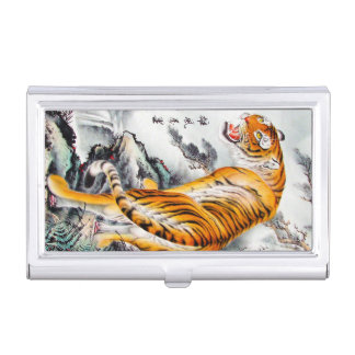 Cool oriental chinese fluffy tiger watercolor ink business card holders