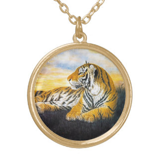 Cool oriental chinese fluffy tiger watercolor ink round pendant necklace