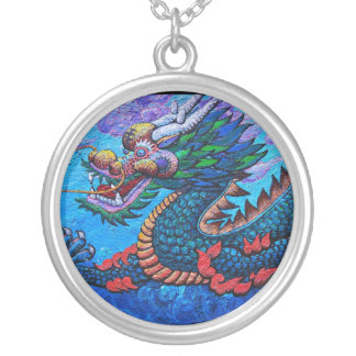Cool oriental chinese oil colourful dragon paint round pendant necklace