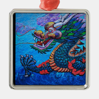 Cool oriental chinese oil colourful dragon paint Silver-Colored square decoration