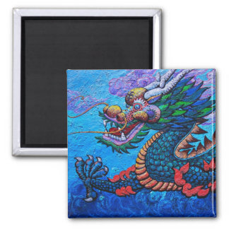 Cool oriental chinese oil colourful dragon paint square magnet