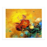 Cool oriental chinese red poppy flower watercolor