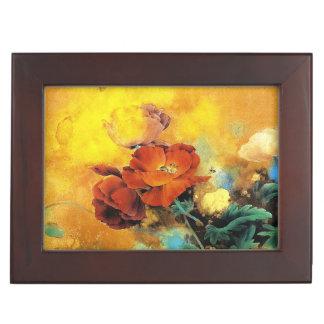 Cool oriental chinese red poppy flower watercolor keepsake box