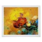 Cool oriental chinese red poppy flower watercolor poster
