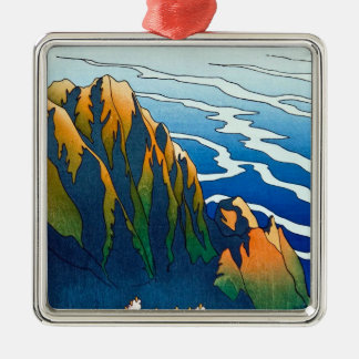 Cool oriental clasic traditional mountain pass art Silver-Colored square decoration