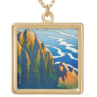 Cool oriental clasic traditional mountain pass art square pendant necklace