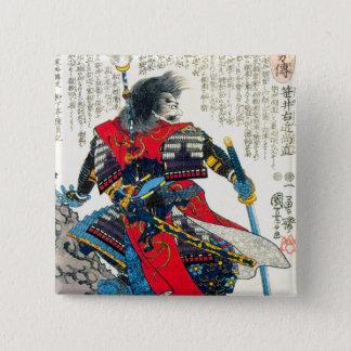 Cool oriental classic japanese samurai warrior art 15 cm square badge