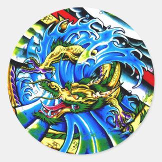 Cool Oriental Dragon tattoo Round Sticker