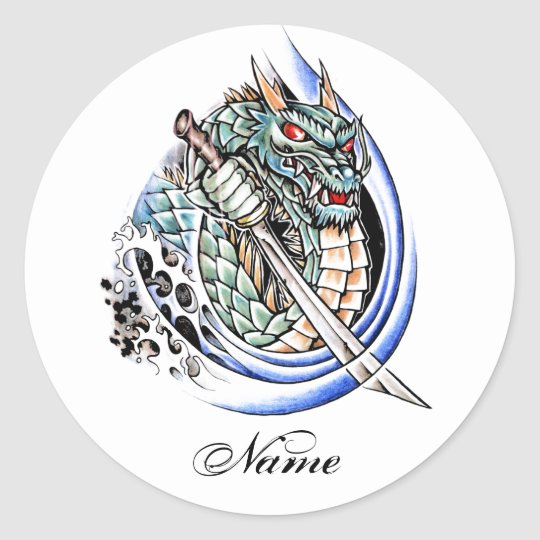 Cool Oriental Dragon with Sword tattoo Classic Round