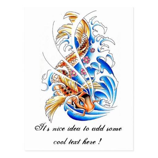 Cool oriental gold koi carp fish water tattoo zazzle for Cool koi fish