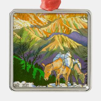 Cool oriental Gorapani Mountain Pass Nepal art Silver-Colored Square Decoration