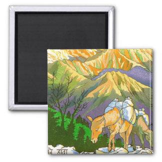 Cool oriental Gorapani Mountain Pass Nepal art Square Magnet