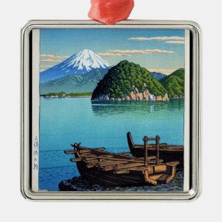 Cool oriental Hasui Kawase Fuji seaside boat art Silver-Colored Square Decoration
