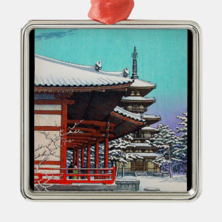 Cool oriental Hasui Kawase japanese winter village Silver-Colored Square Decoration