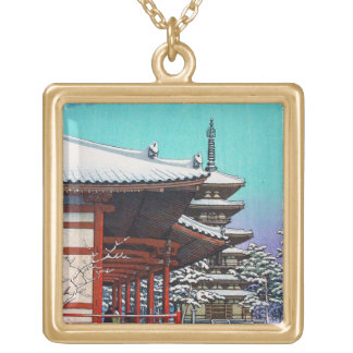 Cool oriental Hasui Kawase japanese winter village Square Pendant Necklace