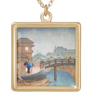 Cool oriental Hasui Kawase rainy day art Square Pendant Necklace