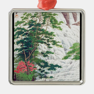Cool oriental Hasui Kawase river waterfall tree Silver-Colored Square Decoration