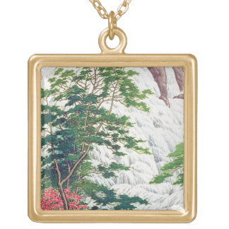 Cool oriental Hasui Kawase river waterfall tree Square Pendant Necklace