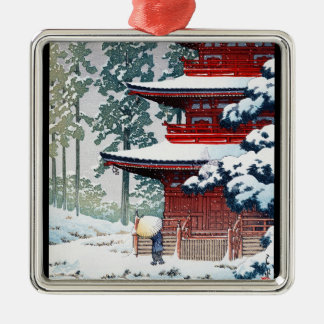 Cool oriental Hasui Kawase Winter scenery art Silver-Colored Square Decoration