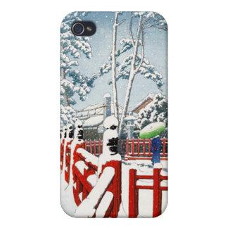 Cool oriental Hasui Kawase winter scenery art iPhone 4/4S Covers