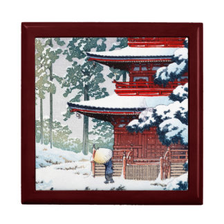 Cool oriental Hasui Kawase Winter scenery art Large Square Gift Box