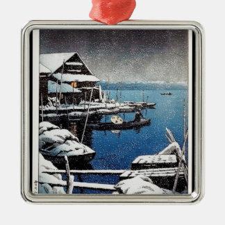 Cool oriental Hasui Kawase winter snow lake scene Silver-Colored Square Decoration