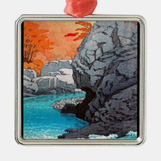 Cool oriental Hasui Rock waterfall japanese art Silver-Colored Square Decoration