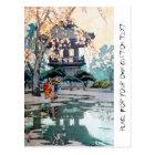 Cool oriental Hiroshi Yoshida Japanese Shrine art Postcard