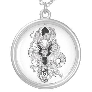 Cool Oriental Ink Black Dragon tattoo Round Pendant Necklace