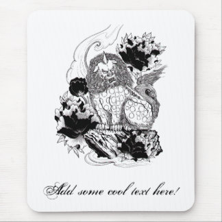 Cool Oriental Ink Mythical Lion tattoo Mouse Pad