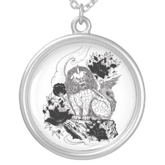 Cool Oriental Ink Mythical Lion tattoo Round Pendant Necklace