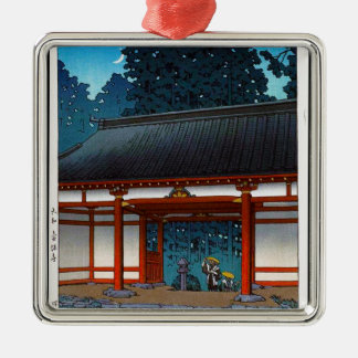 Cool oriental japanee Hasui Kawase night village Silver-Colored Square Decoration