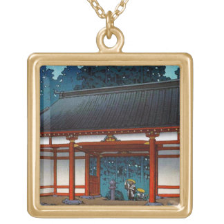Cool oriental japanee Hasui Kawase night village Square Pendant Necklace