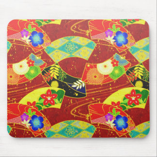 Cool oriental japanese abstract vibrant pattern mouse pad