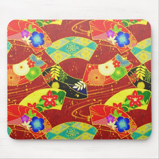 Cool oriental japanese abstract vibrant pattern mousepad