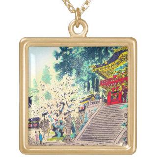 Cool oriental japanese ancient forest shrine art square pendant necklace