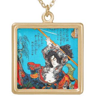 Cool oriental japanese Ancient Samurai Warrior Jo Square Pendant Necklace