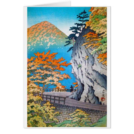 Cool oriental japanese autumn mountain scenery card