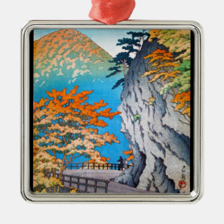 Cool oriental japanese autumn mountain scenery Silver-Colored square decoration