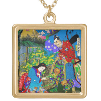 Cool oriental japanese beautiful geisha garden art square pendant necklace