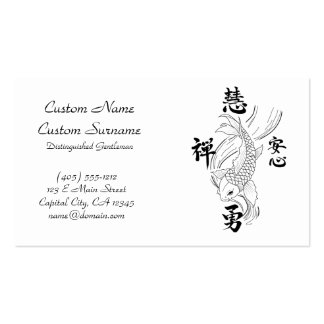 Cool oriental japanese black ink lucky koi fish bu pack of standard business cards