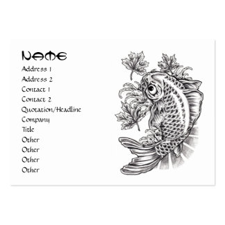 Cool oriental japanese black ink lucky koi fish pack of chubby business cards