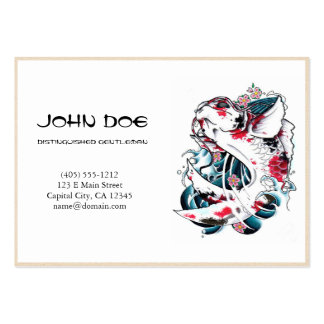 Cool oriental japanese black ink lucky koi fish large business cards (Pack of 100)