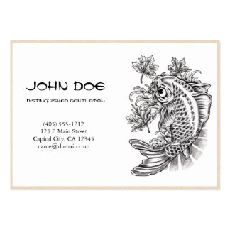 Cool oriental japanese black ink lucky koi fish business cards