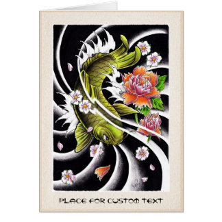 Cool oriental japanese black ink lucky koi fish stationery note card