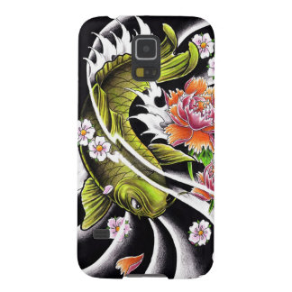 Cool oriental japanese black ink lucky koi fish case for galaxy s5