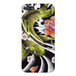 Cool oriental japanese black ink lucky koi fish cover for iPhone 5/5S