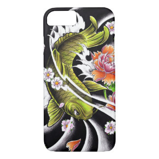 Cool oriental japanese black ink lucky koi fish iPhone 7 case